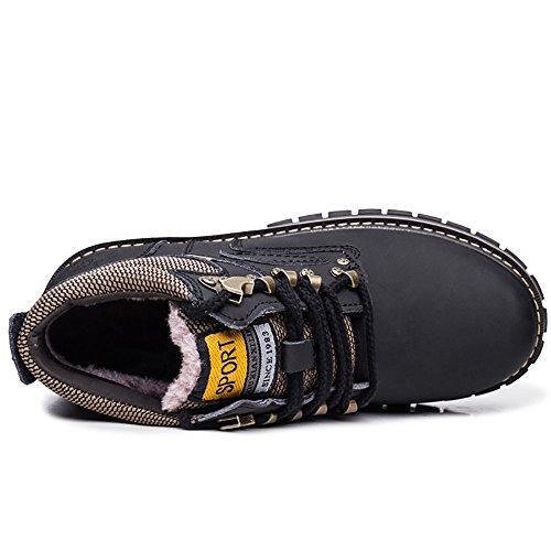 Shoes Martin and Hiking Velvet plush Men No Boots Boots Black Work Autumn Velvet Winter Plus Waterproof AqPxnvI