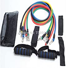 11Pcs/Set Natural Latex Exercise Tubes Elastic Training Pull Rope Fitness Resistance Bands Yoga Pilates Workout Cordage A002 Series