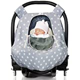 infant car seat fleece cover - Baby Car Seat Cover for Boys and Girls for Winter, Autumn, Spring - Windproof, Universal Fit, Zipped Window, Soft, Warm & Breathable Infant Newborn Car Canopy Cover, Light Grey by BabyDu