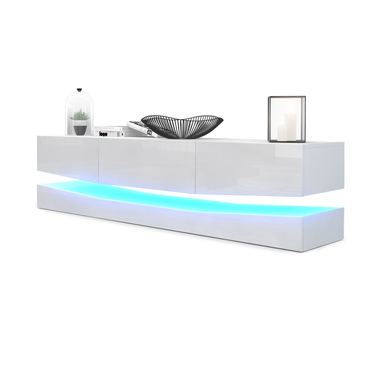 Fronten in WeiãÿHochglanz Korpus matt, mit LED Vladon TV Board Lowboard City, Korpus in Weiß matt Fronten in Weiß Hochglanz inkl. LED Beleuchtung