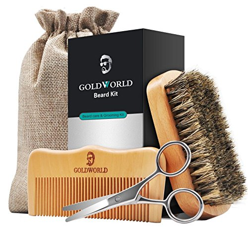 GoldWorld Beard Grooming Kit for Men Care Beard Growth Gifts Set w/Boar Bristle Brush + Wood Comb + Beard Trimmer Scissors + Cotton Bag for Styling Growth & Maintenance (Beard Growth Kit)
