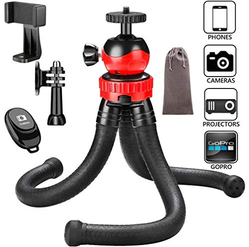 Victiv Flexible Tripod, 12inch Mini Tripod for Smartphone Camera GoPro with 360 Degree Ball Head, Waterproof Tripod for Video Shoot with Remote Shutter, Phone Clip, GoPro Adapter and Velvet Case