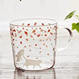 Sakura Glass Mug with Handle,Cute Animal Design Borosilicate Glass Cups Cat printed Mug-Perfect gifts for kids Drinking Tea, Latte, Espresso, Juice,Milk,By Mr.Mug & Ms.Cup(310ml,10.1OZ)