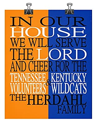 A House Divided Tennessee Volunteers and Kentucky Wildcats Personalized Family Name Christian Print - Perfect Gift, basketball sports wall art - multiple sizes