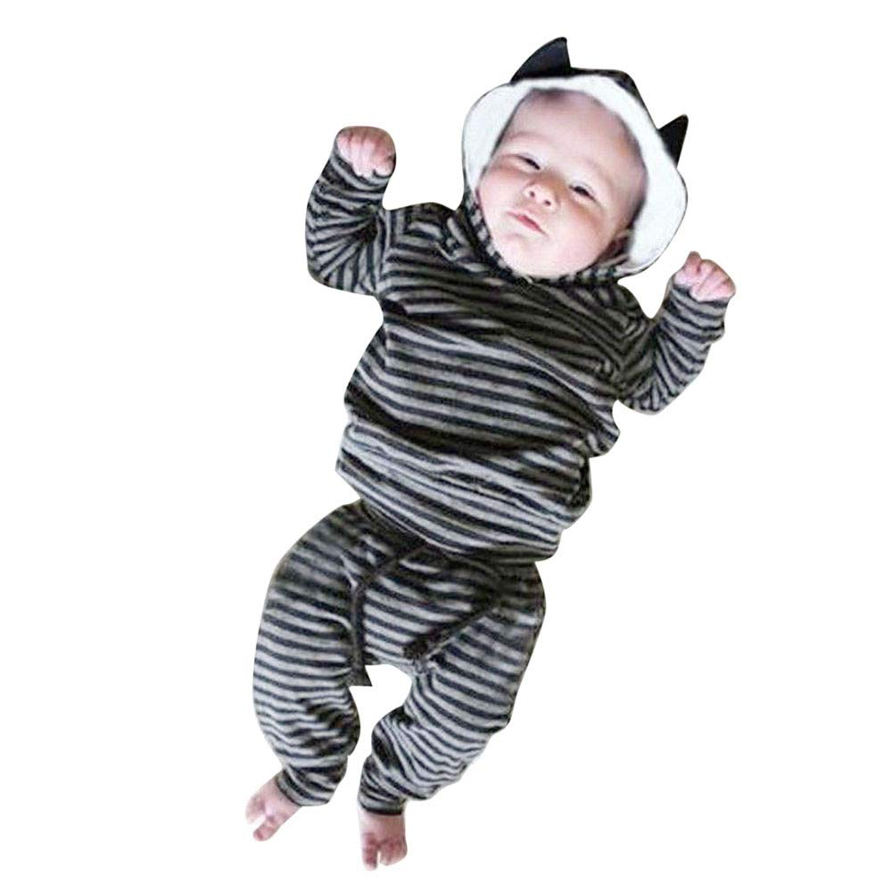 Robemon vêtement bébé Nouveau-né Bébé Bébé Garçon Fille Rayé Oreille Unisexe Capuche Tops +Pantalon Ensemble 2pcs Hoodie Sweater Suit 6-24Mois