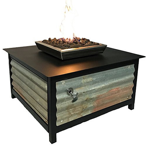 Impact Fire Table, Heavy Duty Steel, Raven Black Powder Coated, Square, 36