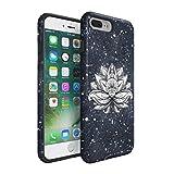 Henna White Lotus Blossom White Ink Splash Hard Plastic Shell & TPU Bumper Double Layer Tough Phone Case For Apple iPhone 7 Plus