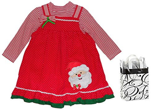 Rare Too! Little Girls' Christmas Dress 2 pc and Bag - 3 Piece Gift Set (2T)]()