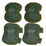 alta superflex elbow pads - Flexzion Airsoft Knee Elbow Protective Pads Set (Green) 4 Pack Tactical Combat Paintall Skate Outdoor Sports Safety Guard Gear Equipment with Adjustable Straps Quick Release
