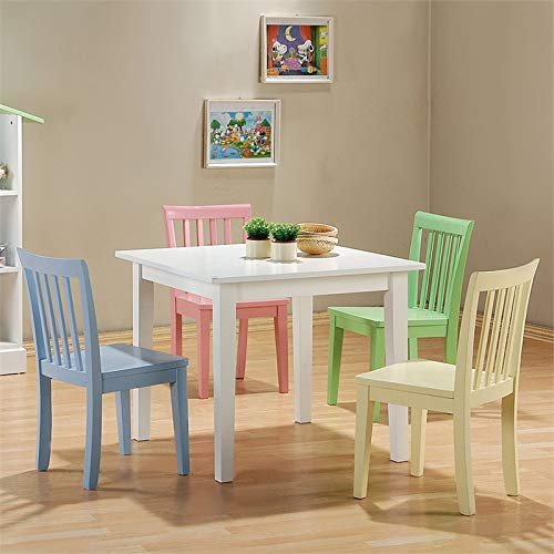 BOWERY HILL 5 Piece Square Kids Table and Chair Set by BOWERY HILL