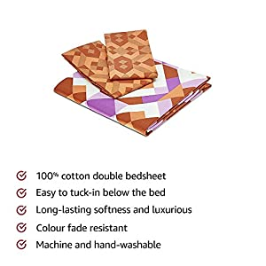 Amazon Brand – Solimo Kaleidoscope Dreams 144 TC 100% Cotton 1 Double Bedsheet with 2 Pillow Covers, Brown and Purple