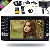 EinCar 6.2 Inch Capacitive Screen Universal Double 2 Din Bluetooth In Dash Car CD DVD Player GPS Radio SWC USB RDS AM/FM Car Stereo Receiver + FREE MAP CARD Wireless Reverse Camera Remote Control