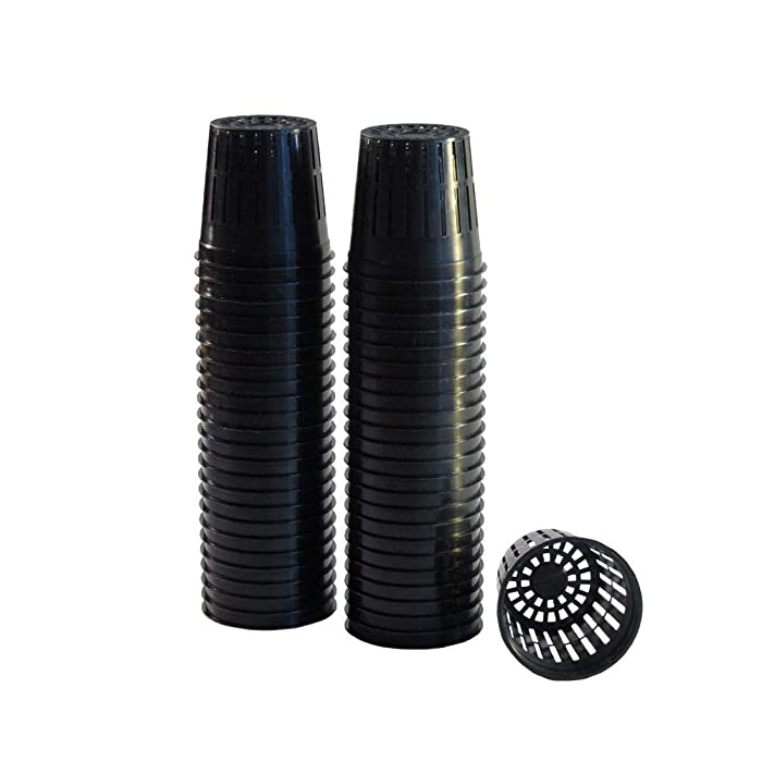 "xGarden 50 Pack Lightweight Economy Net Pot Cups for Hydroponics and Aquaponics - 2"" Diameter Thin Lip Design with Slotted Mesh Sides"