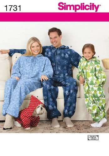 SIMPLICITY 1731 CHILD, TEENS, & ADULT FLEECE JUMPSUIT & DOG COAT ~ SLEEPWEAR (SIZE S, M, L) SEWING (Fleece Dog Coat Pattern)