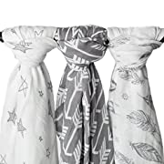 Muslin Swaddle Blankets  Wanderer Set  Large 47x47 inch | Arrow, Feather, and Stars 3 Pack Baby Shower Gift Bundle by Kids N' Such