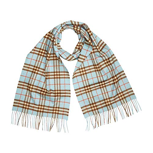 Burberry Classic Vintage Check Cashmere Scarf- Pale Peridot Blue