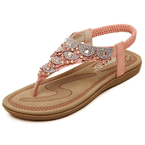 Shoes Woman Sandals Bohemia flip Sandals Beach Decoration pit4tk Pink Flat Metal Flop Shoes Women Casual wXqaxIf