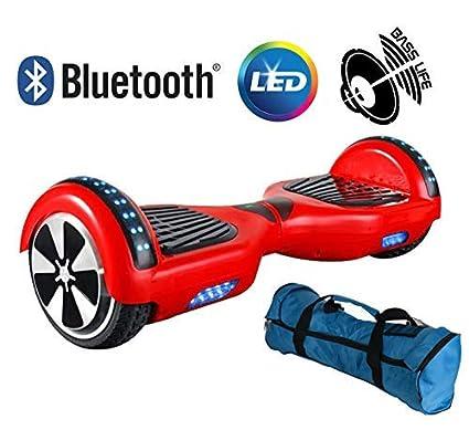 Volver eléctrico Patinete Monociclo eléctrico Overboard, balance Scooter Monopatín con LED, dos ruedas 6.5 Rojo, con certificación ul 2272