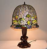 19''w Stained Glass Lotus Water Lily Flower Tiffany Style Jeweled Table Desk Lamp