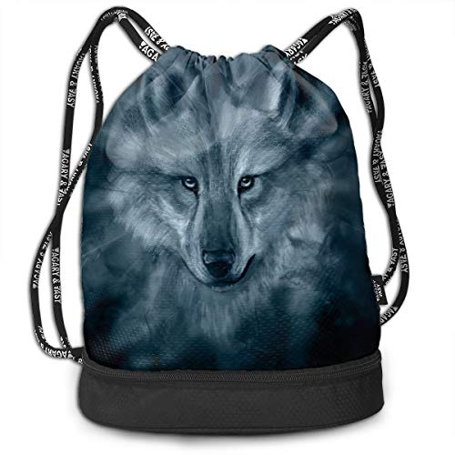 Bulk Drawstring Backpack, Lightweight Gym Sport Bundled Bag Wet Dry Separated Yoga String Cinch Tote Bag Multipurpose Casual Bag For Adult Kids - Printable Wolf -