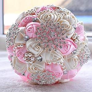 Balalei White Bridal Wedding Bouquet de Mariage Pearls Bridesmaid Artificial Wedding Bouquets Flower Crystal buque de Noiva 2 D453,Pink 100
