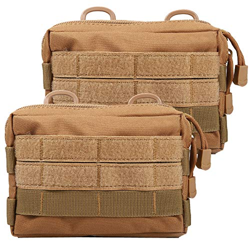 Novemkada MOLLE Pouches - 2 Pack Tactical Compact Water-resistant Utility Gadget Gear EDC Pouch(Pack of 2 Tan)