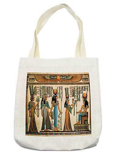 Lunarable Egyptian Tote Bag, Egyptian Papyrus Depicting Queen Nefertari Making an Offering to Isis Image Print, Cloth Linen Reusable Bag for Shopping Books Beach and More, 16.5