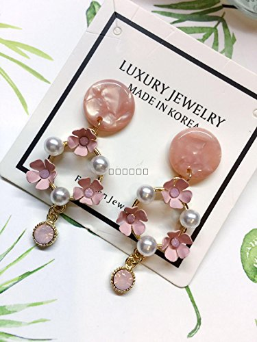 - TKHNE Ruili elegant coral earrings resin earrings over drilling rosette necklace pendant earrings earrings