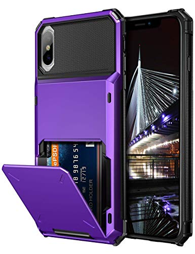Vofolen Case for iPhone Xs Case iPhone X Wallet ID Slot Credit Card Holder Scratch Resistant Dual Layer Protective Bumper Rugged TPU Rubber Armor Hard Shell Cover for iPhone X XS 10 10S (Purple)