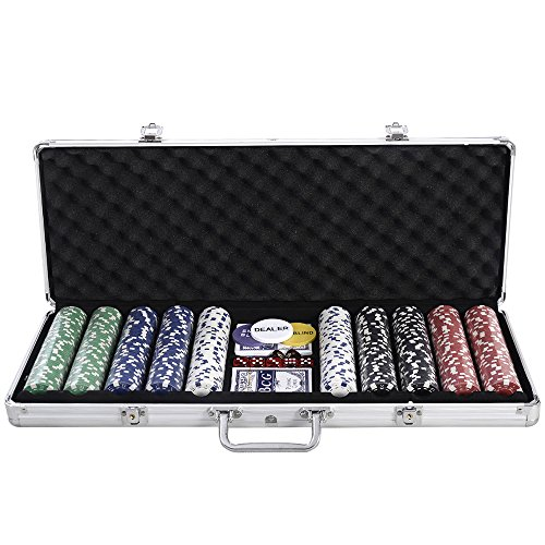 FCH 500 Piece Poker Chip Set with Clear Cover Aluminum Case (11.5 Gram Chips) by FCH