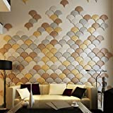 Art3d 12-Pieces 3D Faux Leather Wall Tile Umbrella Design, Golden, White Bronze, Gray