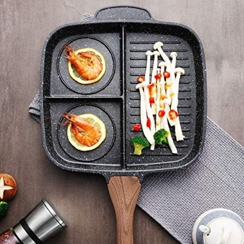 Métal Pot - grain de bois poignée simple antiadhésif cuisine en acier inoxydable antiadhésif Poêle lalay