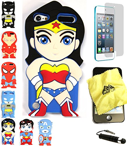 Bukit Cell 3D Superhero Bundle: Wonder Woman Cute Justice League Cartoon Soft Silicone Case for Ipod Touch 6 6th Generation / 5 5th Generation + Cleaning Cloth + Screen Protector + Stylus Pen (Ipod Touch Superhero Cases)