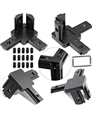 boeray 4 Pack 3 Way Bracket European 3-Way End Corner Bracket Connector for Aluminum Extrusion Profile 2020 Series with Screws and Wrench Black