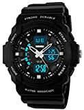 Mastop Outdoor Sport Digital Girls Watch Multifunctional Waterproof Quartz Black Rubber Strap Boy Watch (Black)