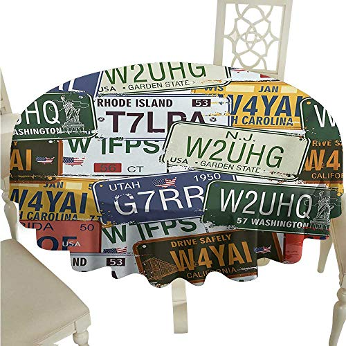 Zodel Polyester Tablecloth Vintage Original Retro License Plates Personalized Creative Travel Collections Art Party D70 Suitable for picnics,queuing,Family