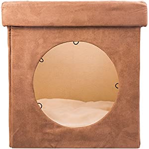 Original ZEN DEN Cat Hideout - Cozy Kitten Bed Cat Hut with Pet Bed, Cat Houses for indoor cats- Connects To Cat Tunnel - Makes Great Cat Hideaway. Cat House Condo, Enclosed