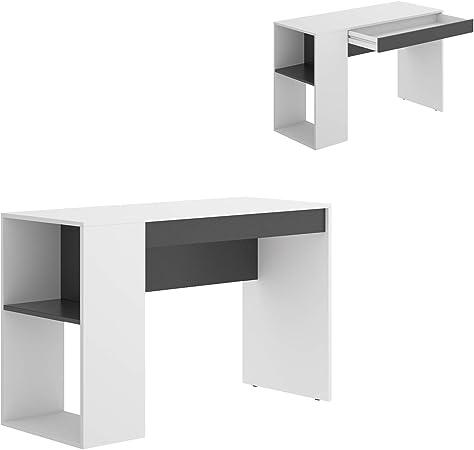 HABITMOBEL Mesa Escritorio, Mueble de despacho,Blanco Grafito, Medidas: Alto 74 cm x Ancho 115 cm x Fondo 50 cm: Amazon.es: Hogar