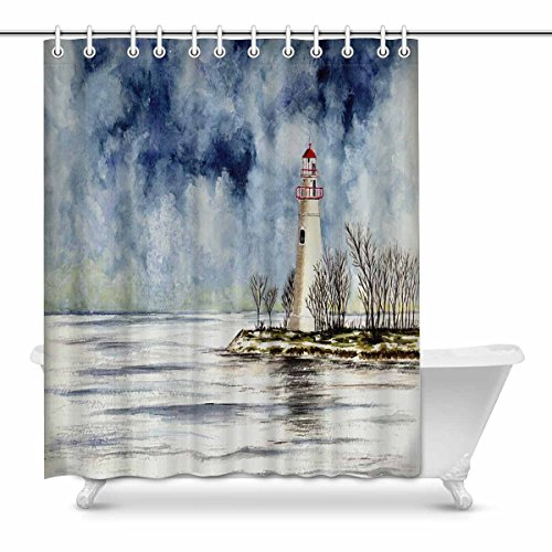 INTERESTPRINT Marblehead Lighthouse Winter Scene Bathroom Decor Shower Curtain Set with Hooks, 72 Inches ()