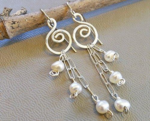 Long Fresh Water Pearls Swirls Silver Dangle Earrings Chandelier Drop Handmade in Oregon USA