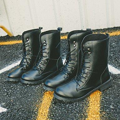 Desy Damen Schuhe PU (Polyurethan) Herbst Winter Bequeme Stiefel Low Stiefel/Stämme Schnürsenkel für Casual Schwarz