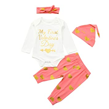 f845d857fb6 Cyhulu 4Pcs Infant Unisex Baby Valentine s Day Clothes