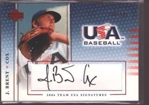 J. J BRENT COX 2004-05 2005 UD USA BASEBALL ROOKIE AUTOGRAPH AUTO RC /595 - Baseball Usa 2005
