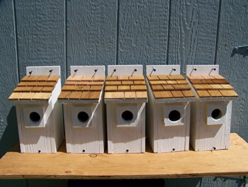 White Bluebird Houses 5 Cedarnest Cedar Shake Roof