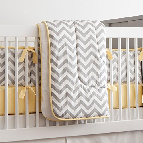 Carousel Designs Gray and Yellow Zig Zag Crib Comforter by Carousel Designs   B00JVY2LXU
