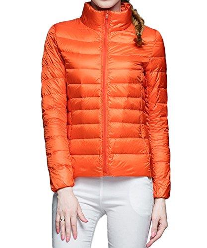 AJFASHION - Blouson - Doudoune - Uni - Manches Longues - Femme Orange
