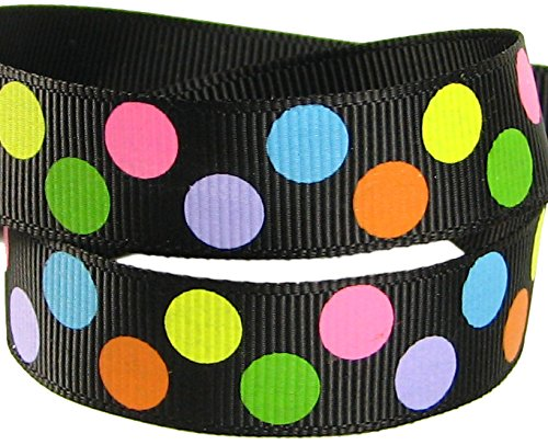 HipGirl Rainbow Grosgrain or Satin Ribbon for Hair Bows, Floral Designs, Gift Wrapping, Sewing and More (5yd 7/8