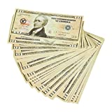 Realistic Double Sided Prop Money - Set of 100 $10 Dollar Bill Total $1,000 with Green Currency Strap - Full Print Paper Money for Movie, TV, Videos, Pranks, Advertising & Novelty, 6.25 x 2.5 Inches