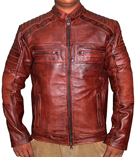 Cafe Racer Vintage Brown Biker Leather Jacket (XL, Distressed brown) - Mens Motorcycle Leather Biker Racer