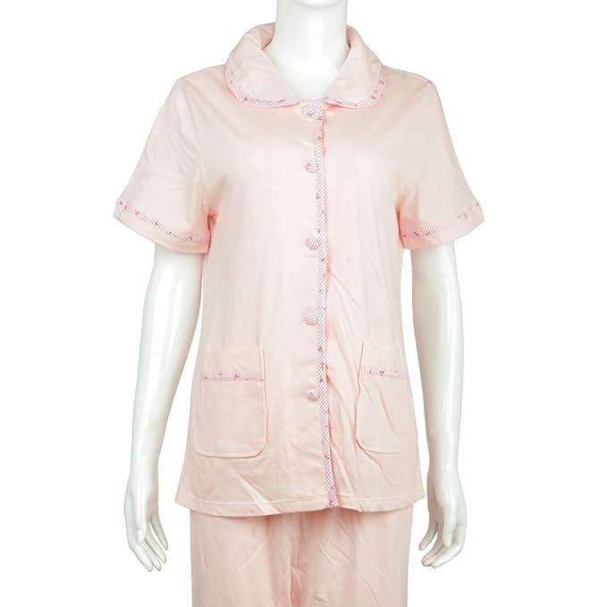 Verano pijamas/Mujer de algodón fino de manga corta a rayas chándal/[Pijamas